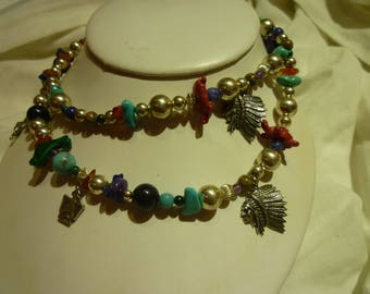 G45 Vintage Sterling Silver with Turquoise and Jade Southwestern Motifed Necklace.
