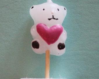 BEAR W/HEART Candle