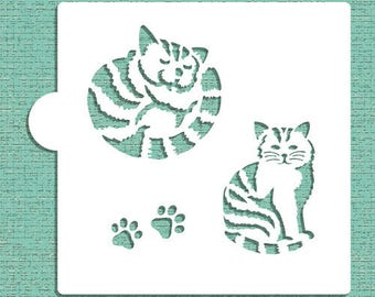"STRIPED CAT Cookie Stencil ""Designer Stencils"" 5"" x 5"""