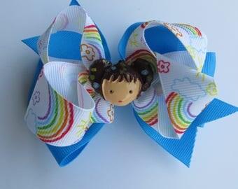 Rainbow girl hairbow,