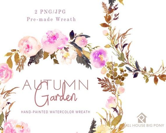 Watercolour Flower Clip Art Collection - Hand Painted Graphics, hand drawn clip art,  flower clip art - Autumn Garden -  2 Wreaths
