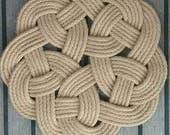 Scandinavian Knot Table Mat, Natural Rope, Rustic, Kringle Knot,  Nautical, Hand Crafted, Jute Trivet Pan Stand, Housewarming Gift.