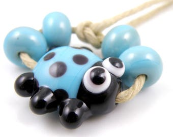 Turquoise and Black Ladybug Mini Focal with Spacers READY to SHIP SRA Lampwork Handmade Artisan Glass Beads Set of 5