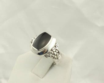 Simple Black Onyx in a Decorative Sterling Silver Ring  #ONYX-SR3