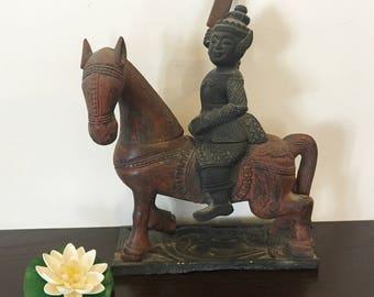 Vintage Myanmar Warrior on Horse Wood Carving