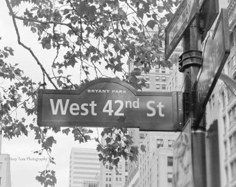 New York City, Street Sign, NYC Photography Print, Black White Photo, New York Print, Wall Art, Fine Art Photograph, Picture Urban Decor