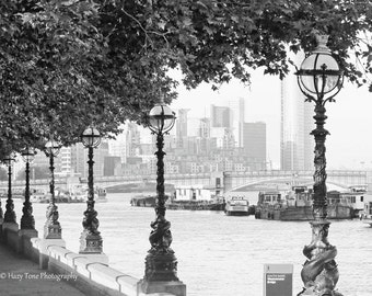 London Photography, Bedroom Wall Art Print, Black White Art, England Photo, Thames River, Urban Decor, Europe Photograph, British Wall Decor