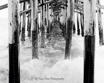 Beach Print, Newport Beach Photography, Black And White, Surf Art, Balboa  Pier