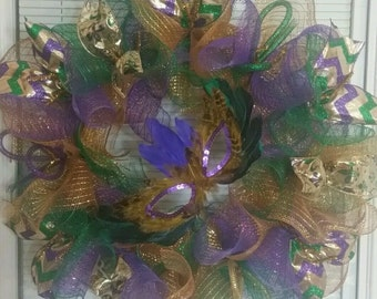 Mardi Gras Wreath, Deco Mesh Wreath, Mesh Wreath, Ribbon Wreath, Celebration Wreath, Handmade Wreath
