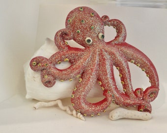 Red Octopus Wall Decor Kraken Wall Decor Deep Sea Wall Decor
