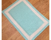 Mint and warm white cotton floor bath mat rug handmade-Cotton crochet mint nursery mat rug-soft bath nursery rug-light aqua rug mat