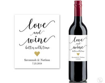 Wine Bottle Labels, Printable Wine Bottle Label Template, Personalized and Editable, Love and Wine Better with Time, VW10