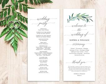 Printable wedding program template, Greenery Wedding Programs, Wedding Programs Template, Editable Text, Tea Length, Eucalyptus Greenery