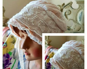 Exquisite 19thC Antique French Handcrafted Embroidered Lace Baby Bonnet / Christening / Baptism-Vintage Period Costume