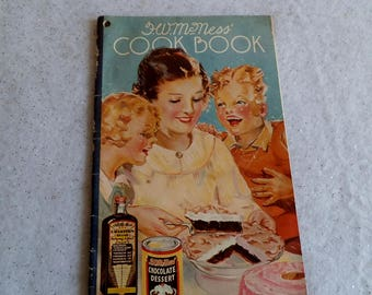 Vintage 1935 McNess Cook Book with Great Color Illustrations Advertising Local Dealer in Wallingford Vermont Freeport Illinois ~ 8328