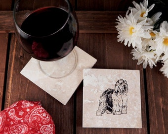 Set of 4 Old English Sheepdog Travertine Stone Coasters