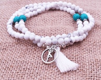 Yoga Mala Necklace  108 Bead Mala Necklace Tassel Mala Necklace Howlite Turquoise Necklace Bead Necklace Meditation Buddhist Necklace