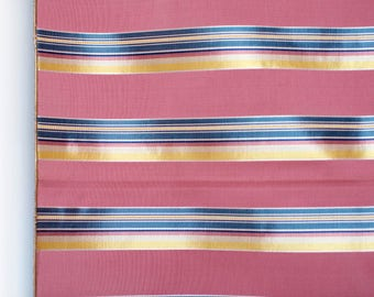 Vintage 40's pink ribbed fabric w yellow blue satin stripes shiny and matte finishes - striped upholstery fabric sample