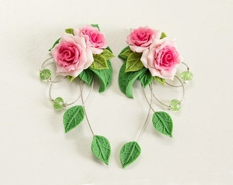 Pink rose earrings. Dangle earrings. Pink flower earrings. Polymer clay jewelry. Pink green earrings. Rose jewelry. Pink Bridesmaids gift