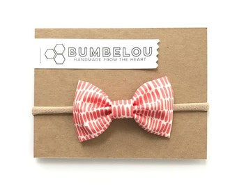 Classic Fabric Bow - Red Strike Out - Headband or Clip