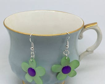 Cute Handmade Green and Purple Flower Earrings