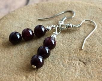 Garnet Earrings, Red Earrings, Natural Stone Earrings, Garnet Jewelry, Lucky Earrings, Chakra Jewelry, Love Compassion.