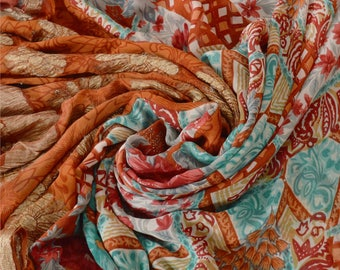 KK Pure Georgette Silk Saree Printed Sari Craft Zari Border Fabric
