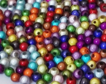50pcs Assorted Miracle Beads - 4mm Beads - Resin Beads - Plastic Beads - Craft Beads - Jewelry Making Supplies - B30218