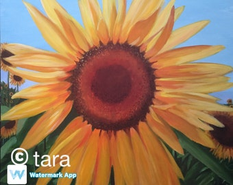 "Sheila's Sunflower 20""x24"" original acrylic painting"