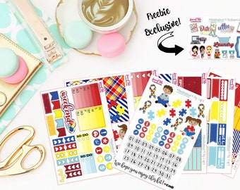 Red Instead Autism Awareness Charity Full Weekly Kit | Life Planner Stickers