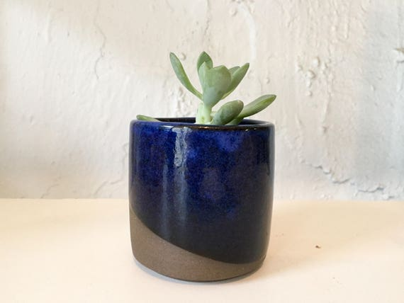 Ceramic mini planter- handmade succulent pot- blue- multipurpose jar
