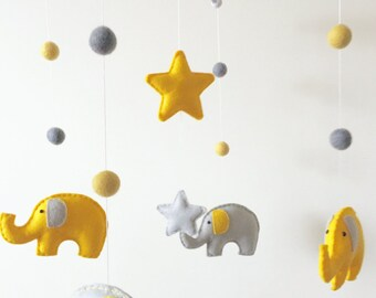 Elephant & Stars Musical Cot Mobile, Baby Mobile, Stars Nursery Mobile, Elephant Nursery, Nursery Decor, Baby Mobile, Musical Cot Mobile