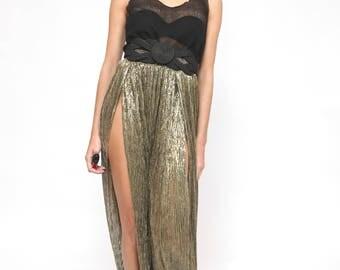 Golden Pleat Maxi Skirt /Night out  Boho hippie Summer Maxi Skirt/ Slit Skirt /Medium