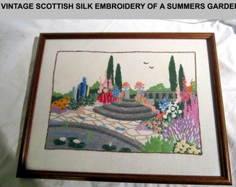 """Vintage Scottish Silk Embroidery of a Summer Garden. 13 x 10"""" is the full frame size"""