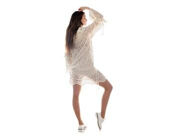 Handknit Cashmere Dress Sweater White Ivory Knitted Shetland Lace Blouse Tunic Handmade from 100% Cachemire Loro Piana Fabric. Ready to Ship