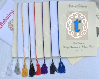 Tassels for Order of Service Cards, Wedding or Menu Cards - Metal Slider 8 Cols (Pack of 10)