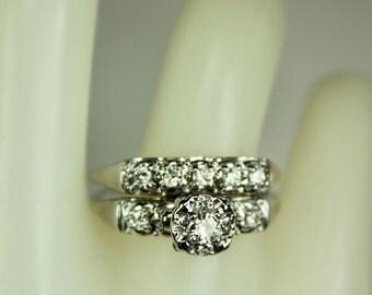 Vintage Ladies 14K White Gold Diamond Engagement Ring Wedding Band Set Bridal Set 0.55ctw Diamonds Sz 8.5 c1970s Retro