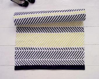 Black, White, Yellow Rug, Zigzag Rug, Geometrical Rug, Floor Runner, Scandinavian Rug, Handmade, Washable, Woven on the Loom, Made to Order