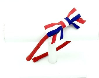 Custom Patriotic Red, White and Blue Metal Headband and Bow