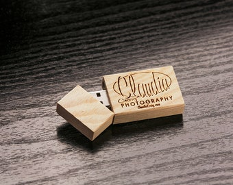 Set of 50 Raw Unfinished Birch USB Flash Drive 2.0 - Personalized Custom Wooden Birch 2.0 USB Flash Drive - Laser Engrave your own design!