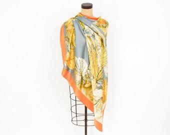 Orange Gold Large Leaf Silk Scarf