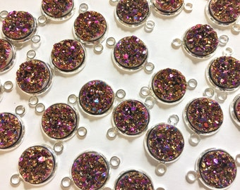 Strawberry Gold Druzy Beads with 2 Holes, Druzy Connector Beads, gold druzy, druzy bracelet, druzy bangle, mermaid druzy, gold pink beads
