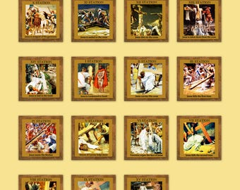 Catholic Stations of the Cross -Way of the Cross  Digital 15 images on an 8x10 Printable Art Print Collage