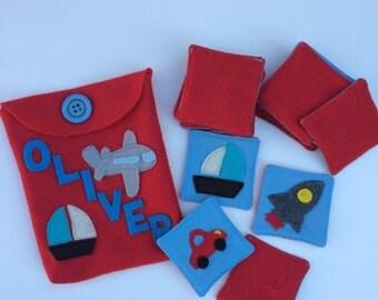 Transportation Set Fabric/Felt Memory Game, Matching Game Montessori inspired/Christmas gift for boys