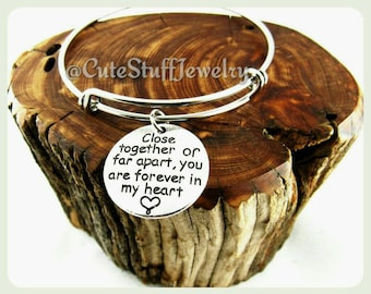 Forever in my heart Bracelet, Forever in my heart Bangle, Handmade Forever in my heart Jewelry, Inspirational Jewelry, Long Distance Love