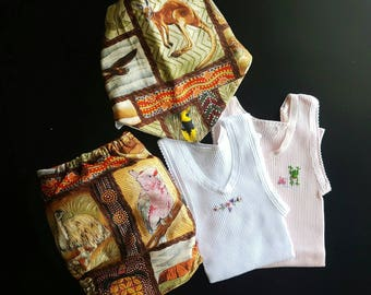 Cloth nappy, embroidered singlets and bandana bib set