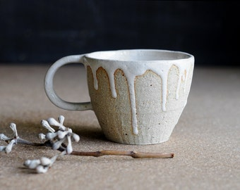 SEA FOAM MUG - Sandy Speckled Stoneware Clay  - Milky White Glaze
