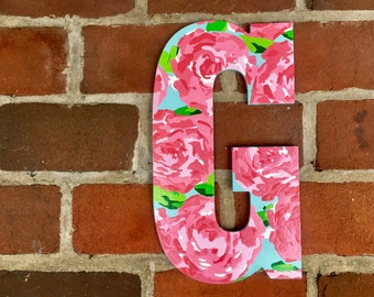 "Hand Painted Monogram Letter G Inspired by Lilly Pulitzer's ""First Impressions"" 13 Inches"