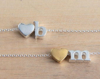 Monogram Necklace, Initial Love Necklace, Sterling Silver Letter Necklace, Gold Heart Necklace, Personalized Necklace, Bridesmaid Necklace