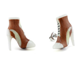 """Hand Carved- """"Sneaker Pump"""" - Sabo Wood with Bone Inlay Stud Earring - Urban Sole"""